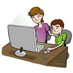 parent and student using a computer