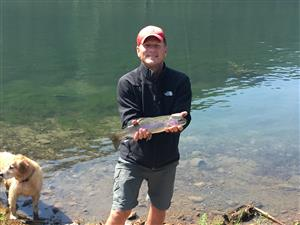 terry with a rainbow trout